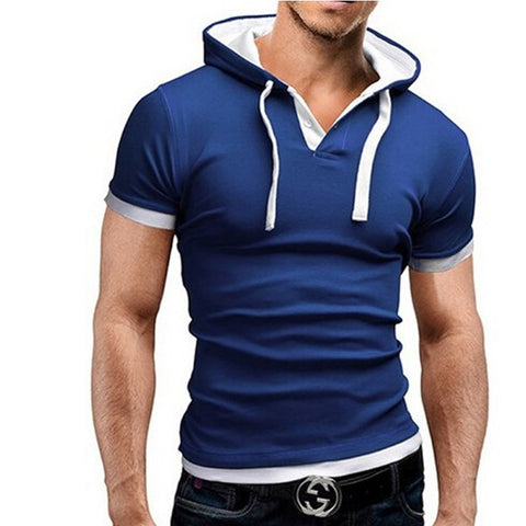 Men'S T Shirt Summer Fashion Hooded Sling Short-Sleeved Tees Male Camisa Masculina T-Shirt Slim Male Tops 4XL-Dollar Bargains Online Shopping Australia