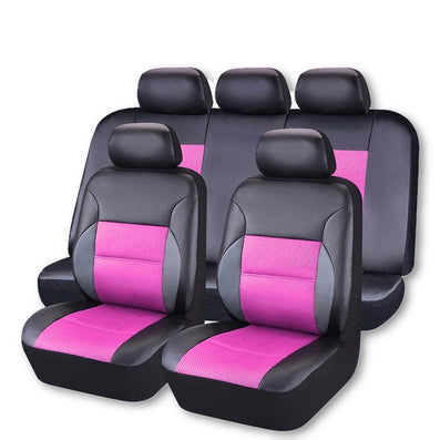 front rear 11pieces pu leather car seat covers universal car interio dollar bargains. Black Bedroom Furniture Sets. Home Design Ideas