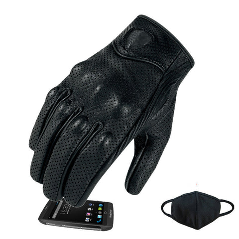 Motorcycle Gloves Real Genuine Leather All Season Glove Touch Screen Perforate Men Racing Motorbike-Dollar Bargains Online Shopping Australia