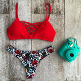 new Swimwear Bikini Neoprene Swimsuits Bathing Suit Push Up Bikini Brazilian Vintage Maillot De Bain Red Leopard N86-Dollar Bargains Online Shopping Australia