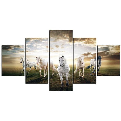 5 Panels Running Horse Modern Painting Canvas Wall Art Decoration Picture Wall Pictures For Living Room Canvas Print Unframed-Dollar Bargains Online Shopping Australia