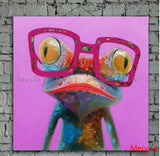 Cartoon Oil Painting on Canvas Abstract Animal Wall Art for Home Decoration 1pc Happy Frog 5cm strecth/ no frame-Dollar Bargains Online Shopping Australia