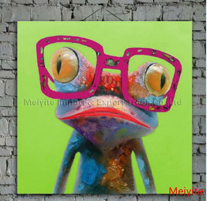 Cartoon Oil Painting On Canvas Abstract Animal Wall Art For Home Decoration 1pc Happy Frog 5cm