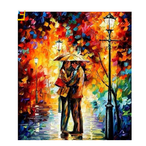Home Fantastic Frame Pictures Painting By Numbers Diy Digital Oil Painting On Canvas Walking In The Rain Home Decoration 40x50cm