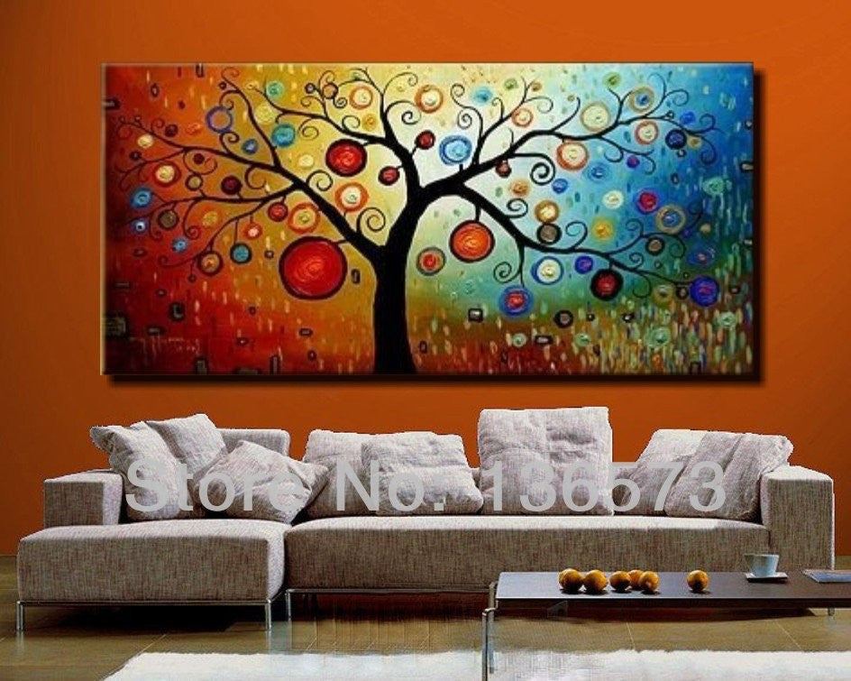 Hand painted modern abstract money tree canvas wall art oil painting on canvas huge home decoration