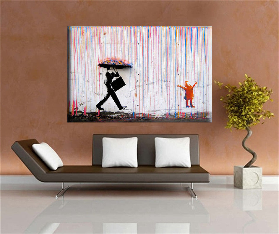 Living Room As Art Gallery: Banksy Art Colorful Rain BANKSY Canvas Painting Wall