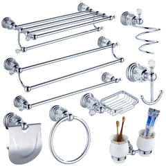 Luxury Crystal Silver Bathroom Accessories Set Chrome Polished Brass Bath Hardware Set Wall Mounted Bathroom Products TS1102-Dollar Bargains Online Shopping Australia