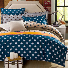 New arrival 100% cotton blue stars 4pcs bedding set with duvet cover pillow case cotton fabric bed linen queen size-Dollar Bargains Online Shopping Australia