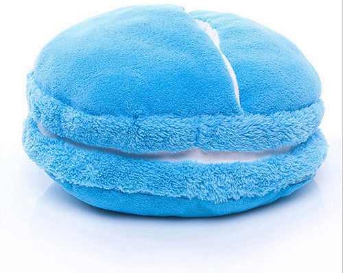 Blue / 38 x 20 cmCreative Macaron Plush Foot Warmer Winter Feet Warmer Slippers Sofa/Chair/Seat/Back Cushion Pillow for Office Decoration Home