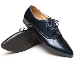 Brand New Fashion Women Glossy Oxfords Black Blue White Female Brogue Shoes Low Heels ASP51-5 Plus Big Size 32 43 10-Dollar Bargains Online Shopping Australia