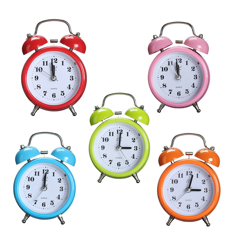 Portable Fashion Classic Silent Double Bell Alarm Clock Quartz Movement Bedside Night Light Best Quality