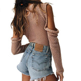 autumn winter sweater top Hollow out knitted bodysuit women jumpsuit romper Casual elastic playsuit camis macacao-Dollar Bargains Online Shopping Australia