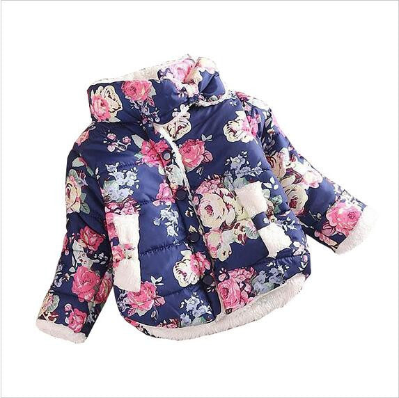 Blue / 5Girls Coat Warm Baby Winter Long Sleeve Flower Jacket Children Cotton-Padded Clothes Kids Christmas Outwear a-079
