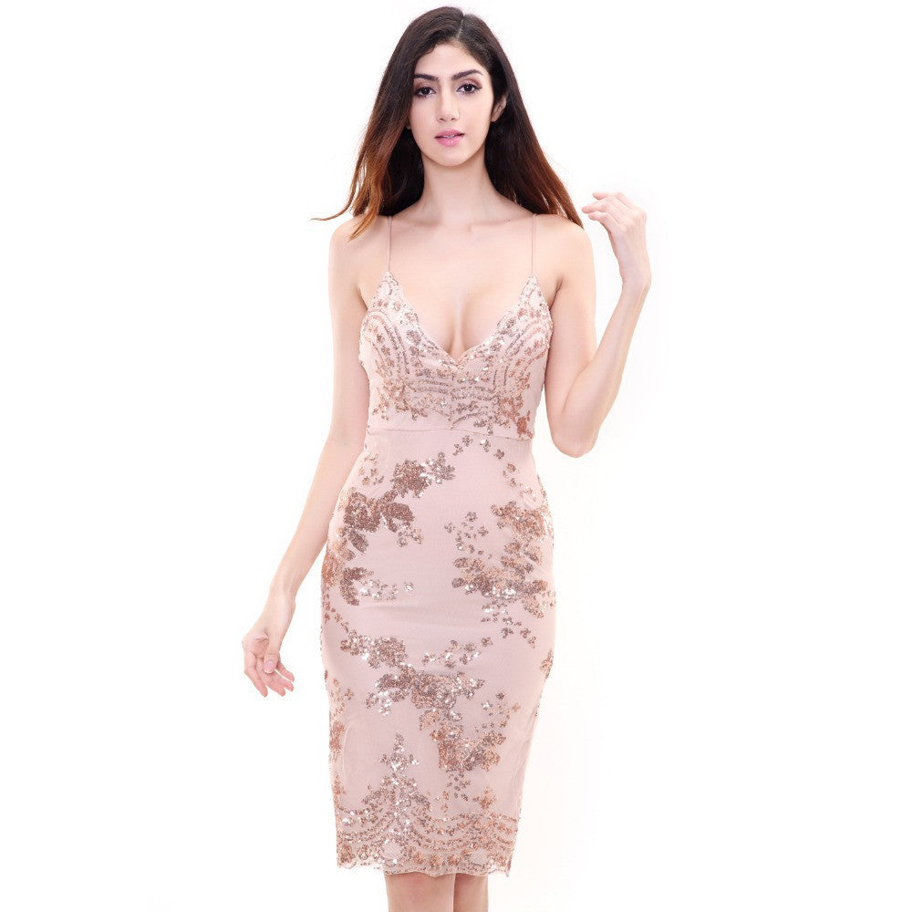 140f9dc2a410e Love&Lemonade NEW Gold Sequined Lace V-Neck Party Dress TB 8850