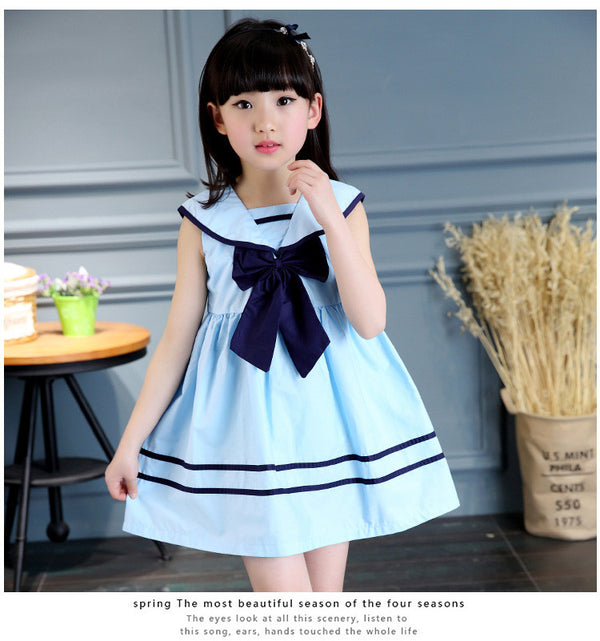 373f7bf85ad2e 3colours children girls dress bowknot kids navy dresses sleeveless cotton  summer children girl clothes