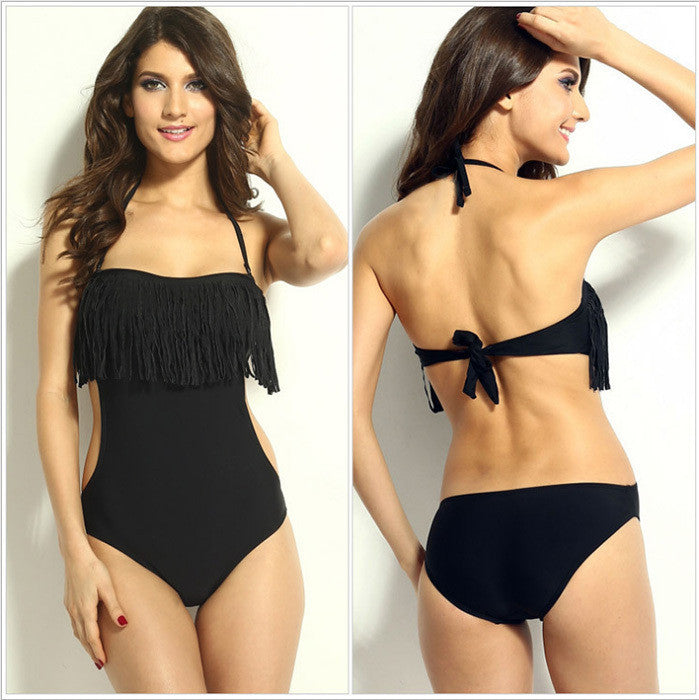 Black / SNew Fashion Sexy Triangular One Piece Swimsuit Chest Padded Wrapped Tassel Swimwear No Steel Prop WS164