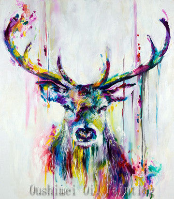 Handmade Items Colorful Abstract Paintings Animals Oil Painting Deer Wall Decor Wallpapers Home