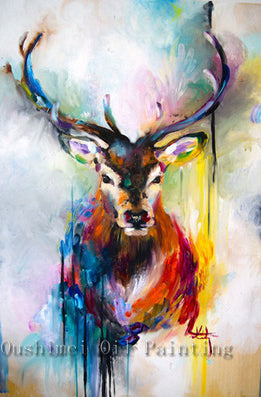 Handmade items colorful abstract paintings animals oil - Home interior deer pictures for sale ...