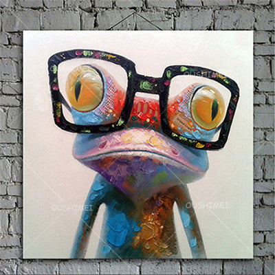 32X32 / ACartoon Animal Abstract Oil Painting Frog Wears Glasses Unframed Canvas for Kids Rooms for Living Room Bedroom Dining Office Cafe