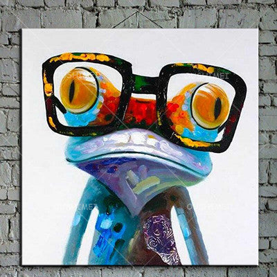 Cartoon Animal Abstract Oil Painting Frog Wears Glasses Unframed Canvas for Kids Rooms for Living Room Bedroom Dining Office Cafe