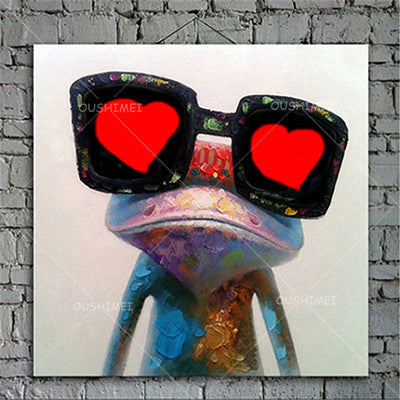 32X32 / ECartoon Animal Abstract Oil Painting Frog Wears Glasses Unframed Canvas for Kids Rooms for Living Room Bedroom Dining Office Cafe