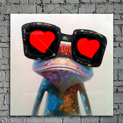 Cartoon Animal Abstract Oil Painting Frog Wears Glasses Unframed Canvas for Kids Rooms for Living Room Bedroom Dining Office Cafe-Dollar Bargains Online Shopping Australia