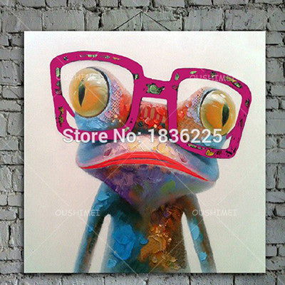 32X32 / GCartoon Animal Abstract Oil Painting Frog Wears Glasses Unframed Canvas for Kids Rooms for Living Room Bedroom Dining Office Cafe