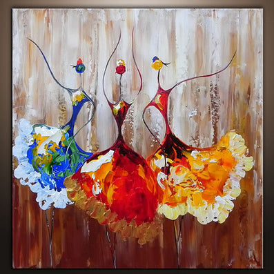 Hand Painted Canvas Oil Paintings Unframed Ballet Abstract Art Painting Dancer Kids Room