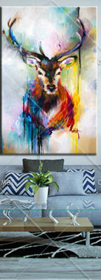 colorful bright color Canvas Wall Art Deer Abstract Animal Oil Painting-Dollar Bargains Online Shopping Australia