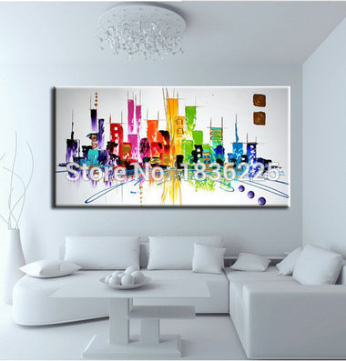 Abstract paintings modern city landscapes oil painting themes for painting on canvas oil painting for kids room No Frame-Dollar Bargains Online Shopping Australia