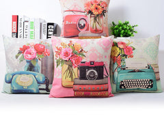 Vintage Phone Typewriter Radio Camera Flowers Home Decor cushion Linen cotton pillow sofa cushions decorative Throw Pillow-Dollar Bargains Online Shopping Australia