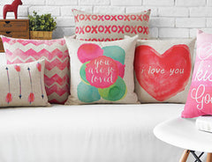 Creative watercolor Pink Love Pillow Red Cushion Couples gift Linen pillowcase sofa cushions home decorative Pillows-Dollar Bargains Online Shopping Australia
