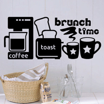 L Msg Color PlsCoffee Shop Vinyl Wall Decal Quote Brunch Time CoffeeToast Office Machine Art Wall Sticker Coffee Shop Window Wall Decoration