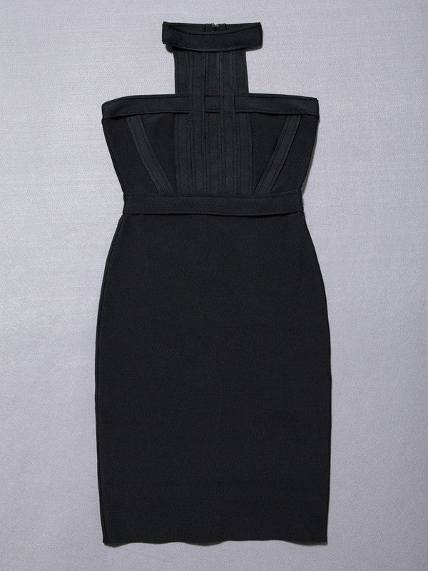 Black / XShigh quality nude o neck black mini sleeveless Bodycon Bandage Dress