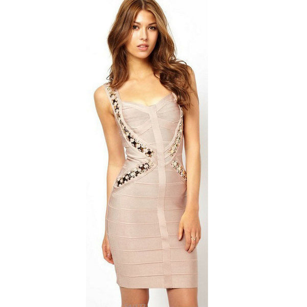 Women bandage dress metal sequined HL sexy fashion night club party dresses  good stretch top quality 9d40e050e903