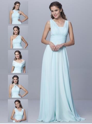 Cheap Convertible Style Sexy Chiffon Party Wedding Bridesmaid Dresses Floor Length Mint Dresses for Bridesmaids Vestido BMD94