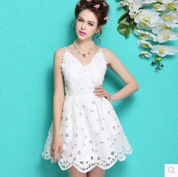 Elegant White Lace Summer dress Sleeveless V-neck women Dress Short Party  dresses vestidos Casual f46c33e4b6bc