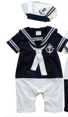 Color as shown 2 / 18Mfashion Summer Newborn navy style baby romper suit kids boys girls rompers+hat body summer short-sleeve sailor suit