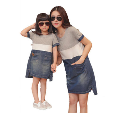 19810469be mother daughter matching dresses summer style mommy and me clothes women  grey white blue denim patchwork