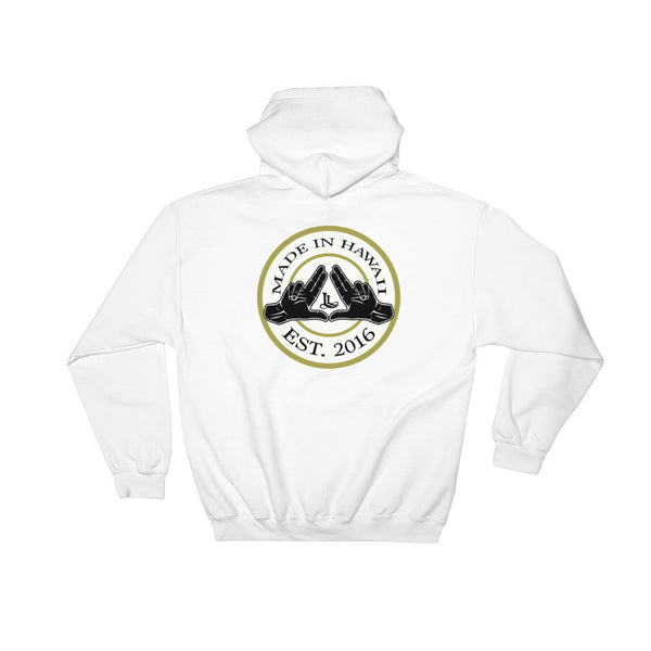 State of Hawaii luca legacy hoodie in white, back view