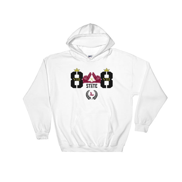 State of Hawaii luca legacy hoodie in white, front view