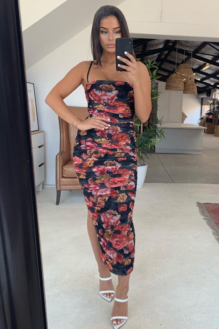 Sienna Midi Dress - Black Floral - SHOPJAUS - JAUS