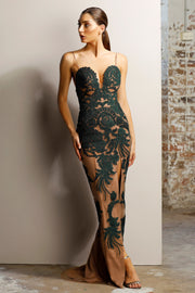 Jadore JX1028 Dress - Emerald/Nude - SHOPJAUS - JAUS