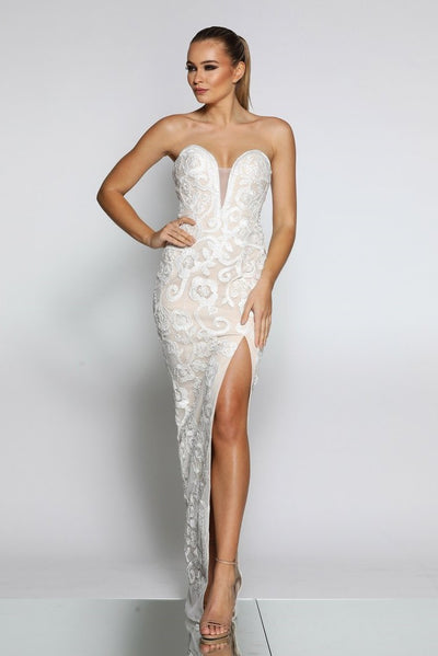 Jadore JX1067 Dress - Ivory/Nude - SHOPJAUS - JAUS