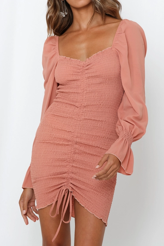 Shirred Mini Dress - Dusty Rose - SHOPJAUS - JAUS