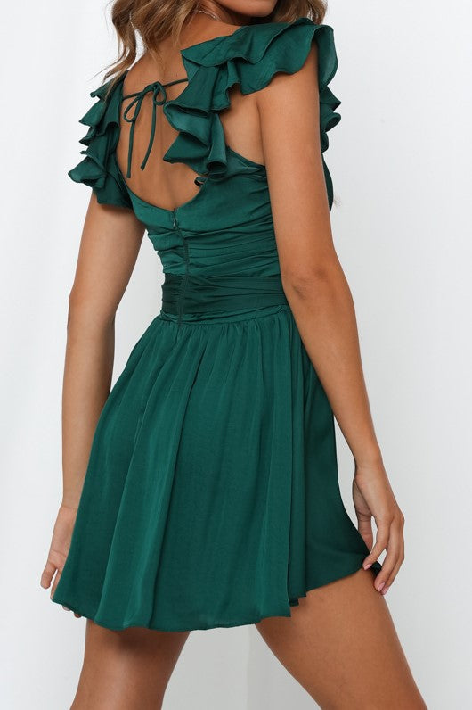 Grecian Dress - Forest Green