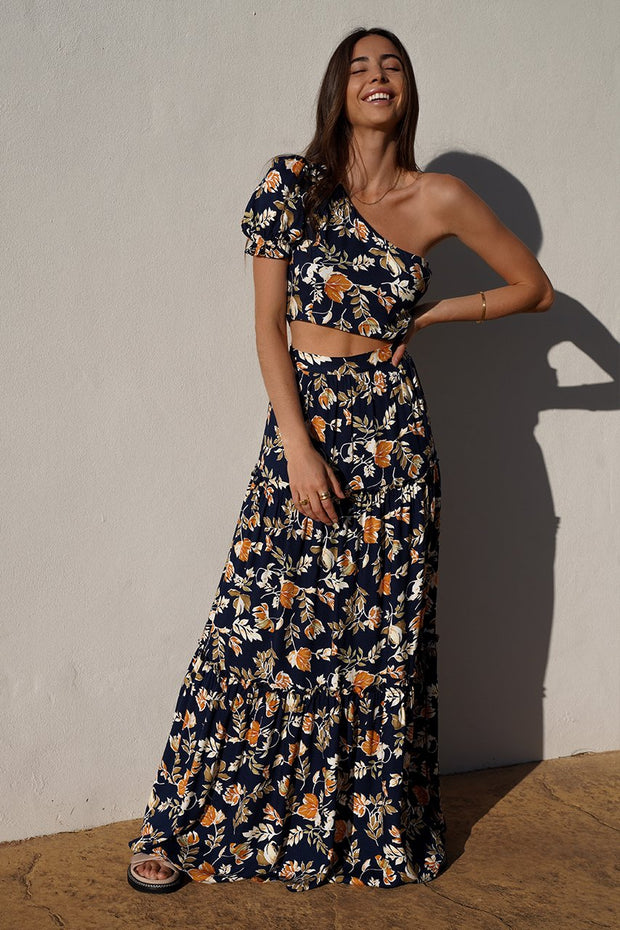 Autumn Fields Maxi Skirt - Navy Floral