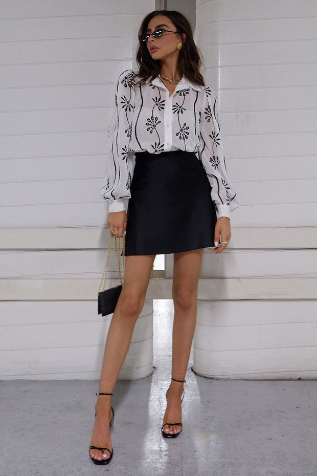 Eloise Blouse - Black/White