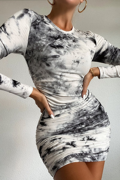 Tie Dye Long Sleeve Dress - Black