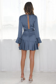 Josephine Mini Dress - Steel Blue
